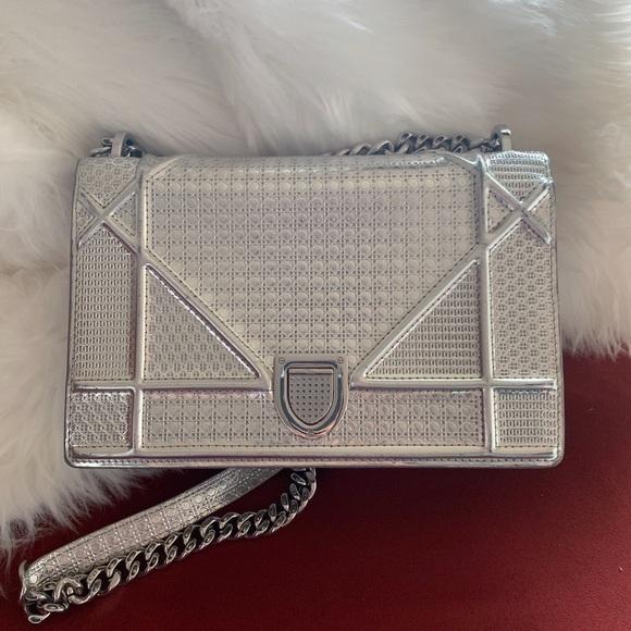 cca7a2933e2 Christian Dior Handbags - CHRISTIAN DIOR Medium Diorama Flap Bag Silver
